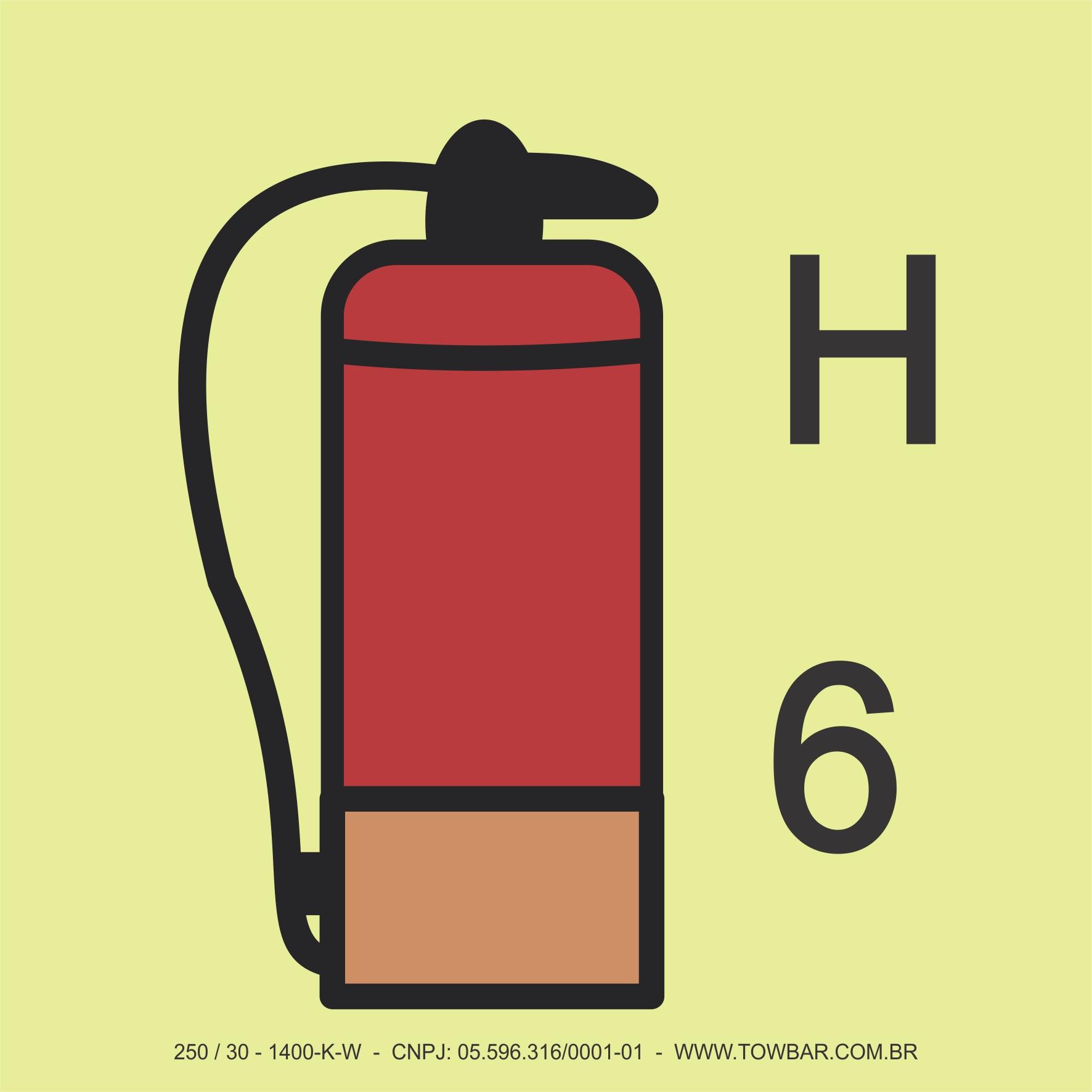 Extintor de Incêndio (gases diferentes CO2; Nitrogênio)  (Fire Extinguisher (gases other than CO2 & Nitrogen))  - Towbar Sinalização de Segurança