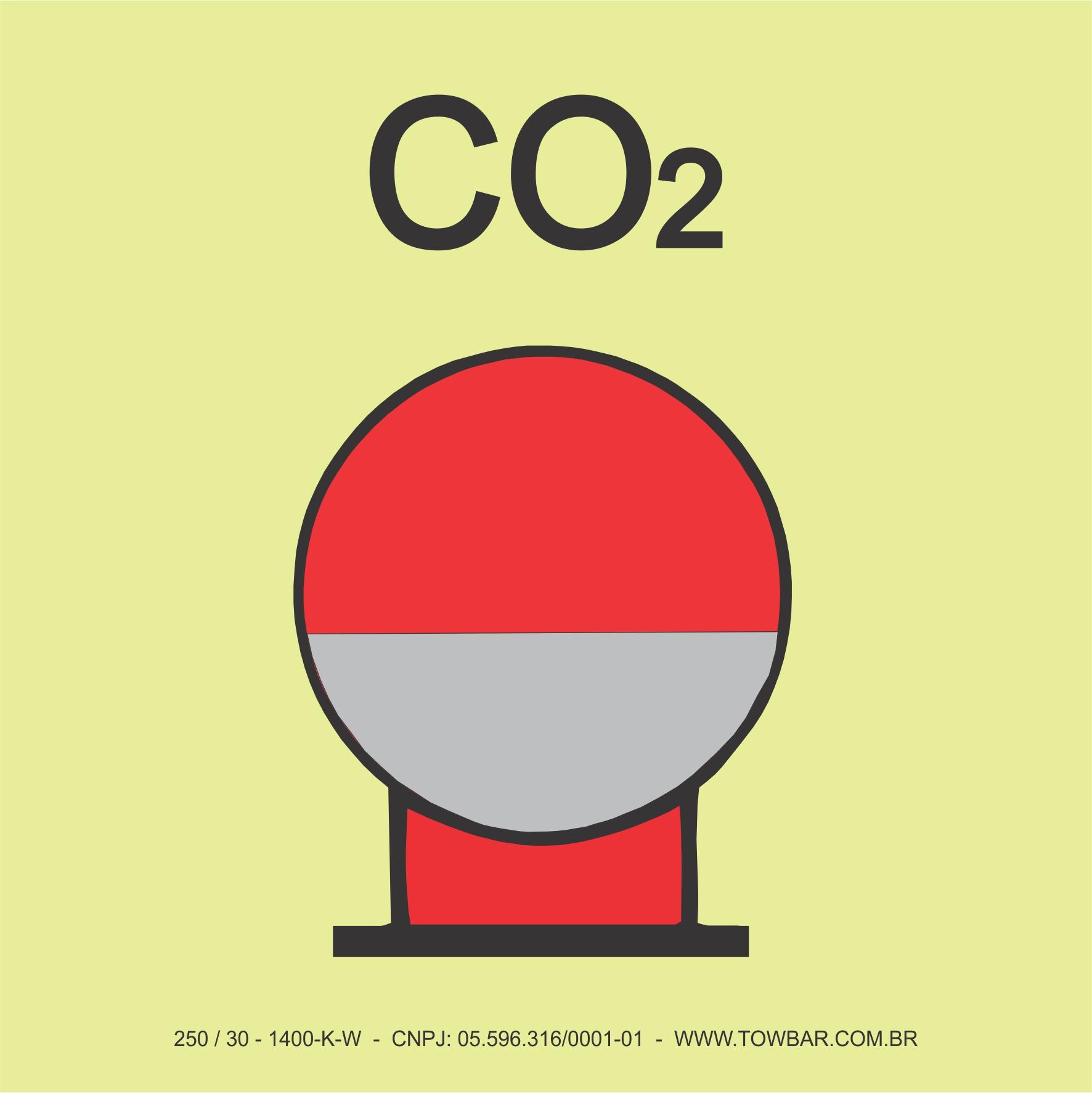 Garrafa de CO² em zona protegida (Fixed Fire Extinguishing Bottle (CO2))  - Towbar Sinalização de Segurança