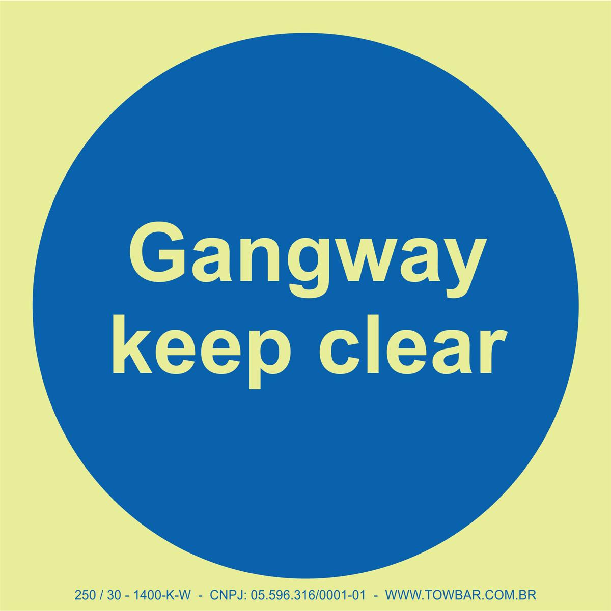 Gangway Keep Clear  - Towbar Sinalização de Segurança