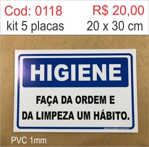 Saldão - Placa Higiene Faça da Ordem e da Limpeza um Hábito  - Towbar Sinalização de Segurança
