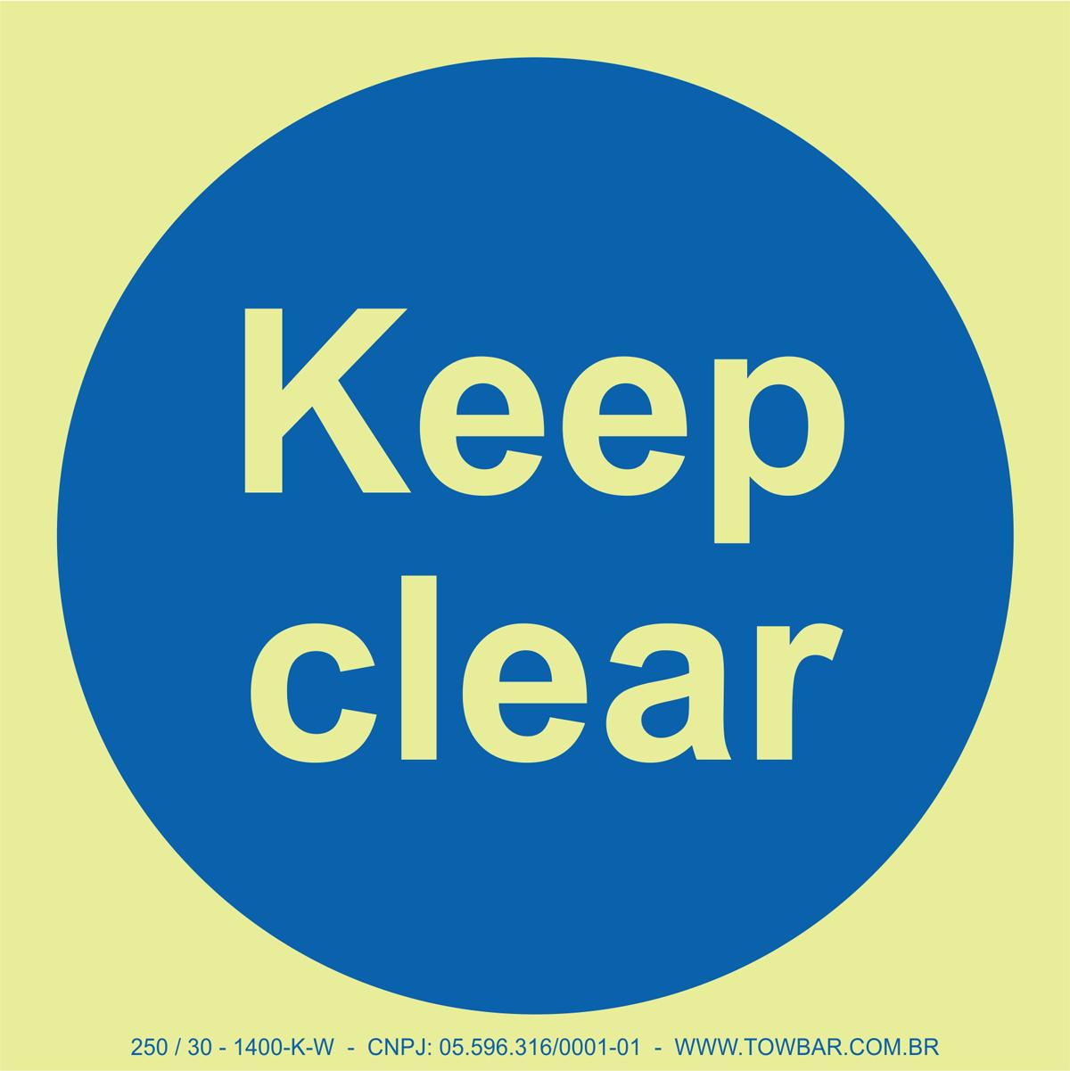 Keep Clear  - Towbar Sinalização de Segurança