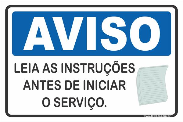 Leia As Instruções Antes de Iniciar o Serviço.  - Towbar Sinalização de Segurança