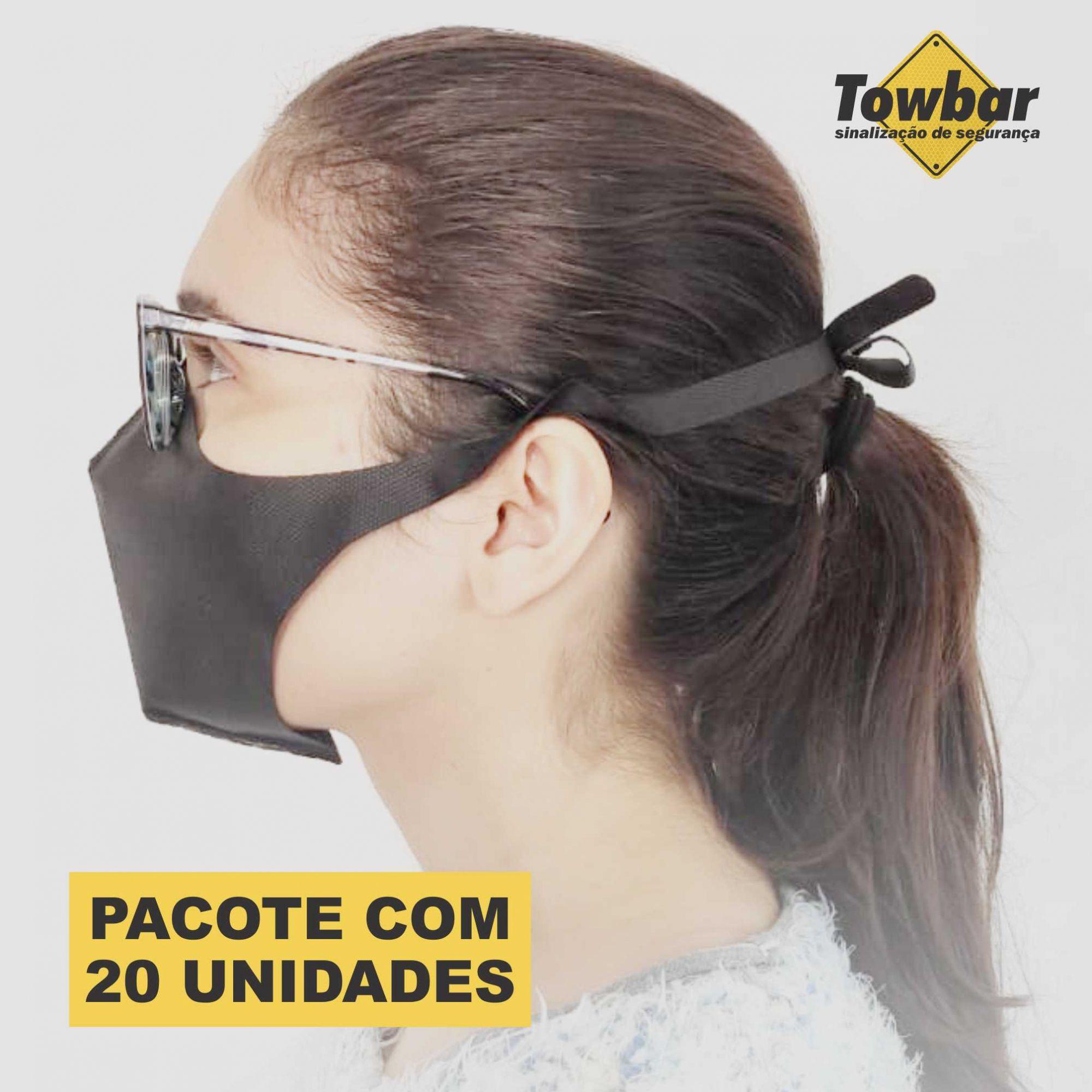 Máscara de proteção reutilizável - pacote com 20 unid  - Towbar Sinalização de Segurança