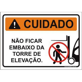 Não ficar embaixo da torre de elevação  - Towbar Sinalização de Segurança