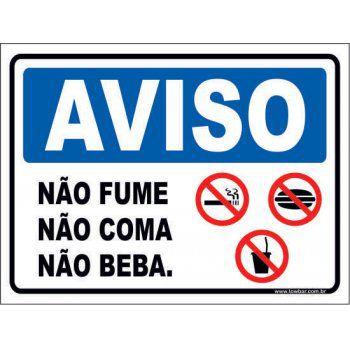 Não Fume Não Coma Não Beba.  - Towbar Sinalização de Segurança