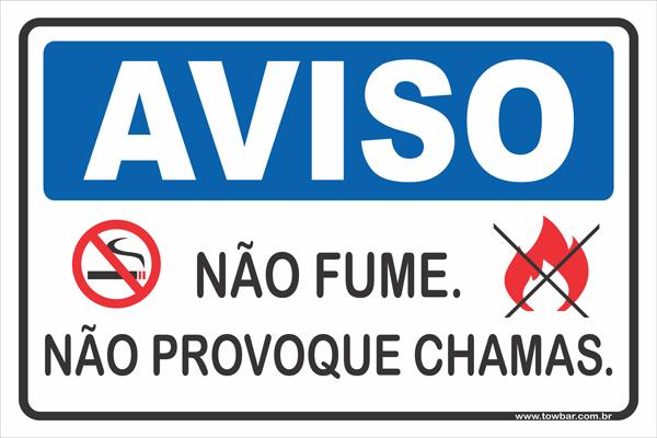 Não Fume Nem Provoque Chamas  - Towbar Sinalização de Segurança