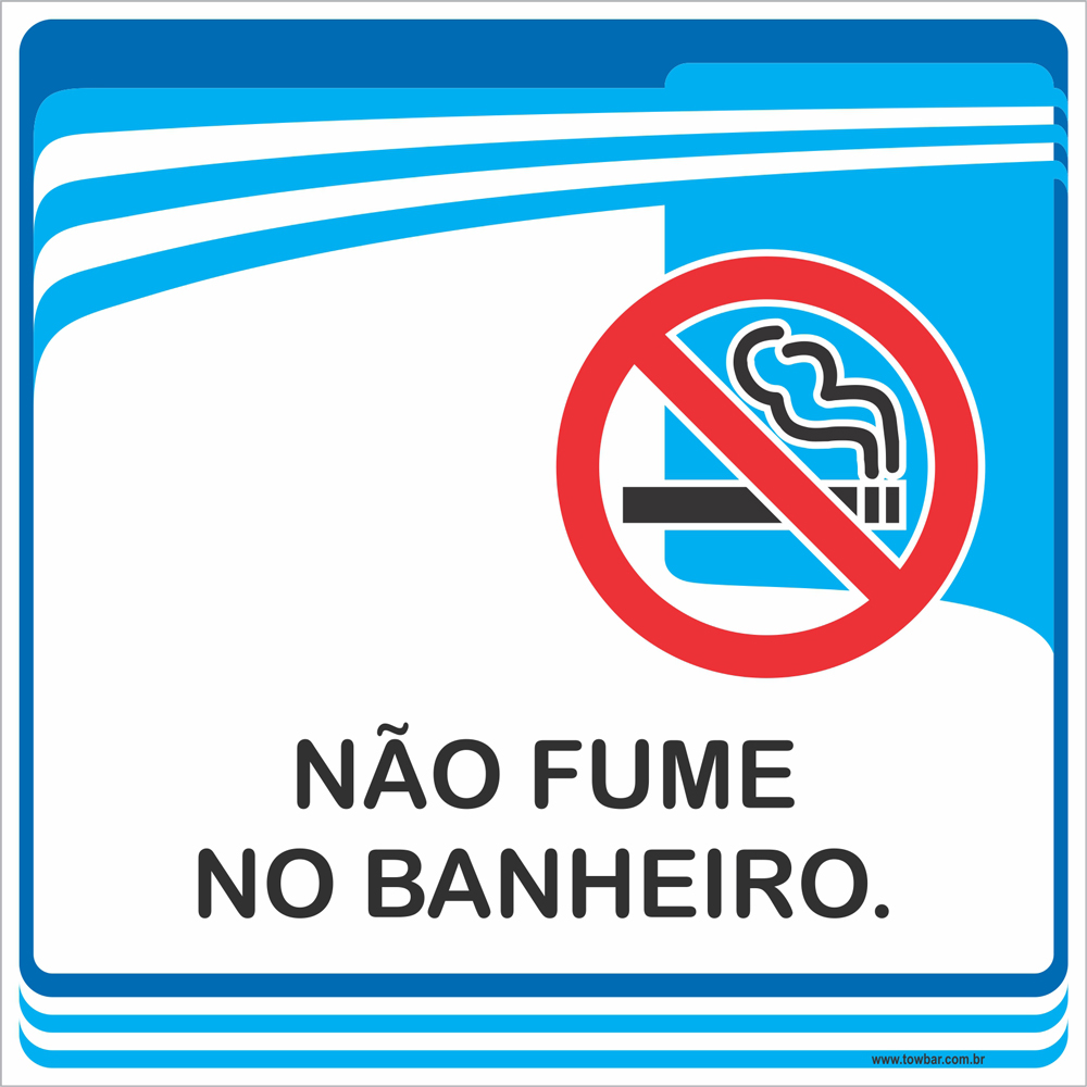 Placa Não Fume no Banheiro (15x15cm)  - Towbar Sinalização de Segurança