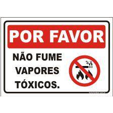 Não fume vapores tóxicos  - Towbar Sinalização de Segurança