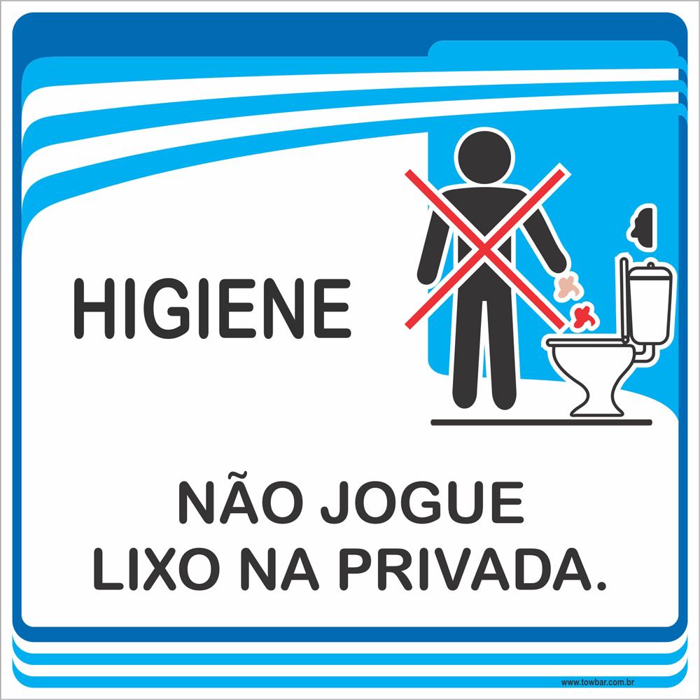 Placa Não Jogue Lixo na Privada (15x15cm)  - Towbar Sinalização de Segurança
