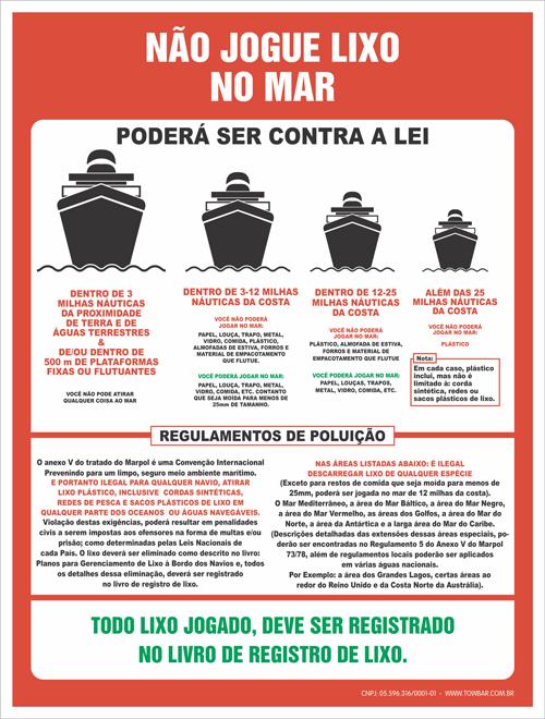 Não Jogue Lixo no Mar  - Towbar Sinalização de Segurança