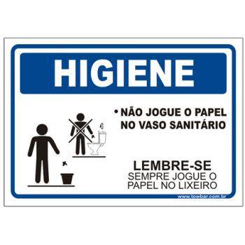 Não jogue o papel no vaso sanitário  - Towbar Sinalização de Segurança