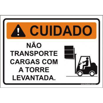Não transporte cargas com a torre  - Towbar Sinalização de Segurança