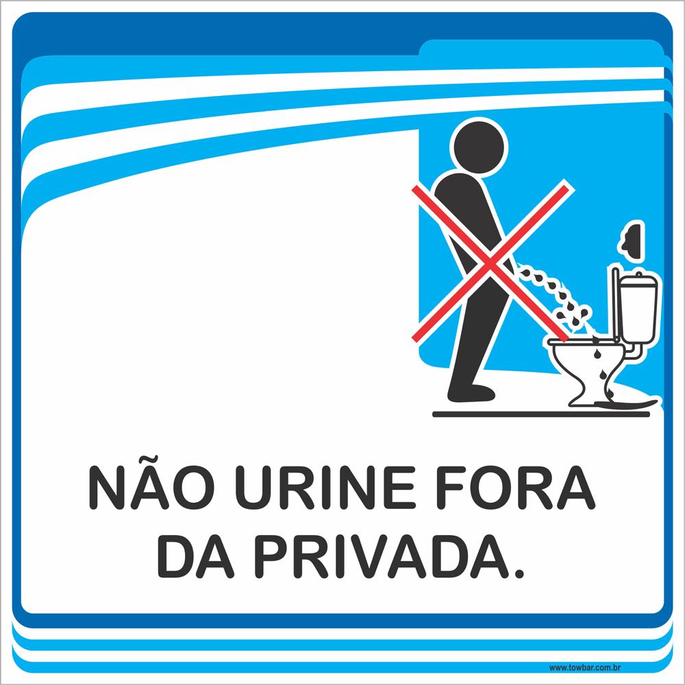 Placa Não Urine Fora da Privada (15x15cm)  - Towbar Sinalização de Segurança