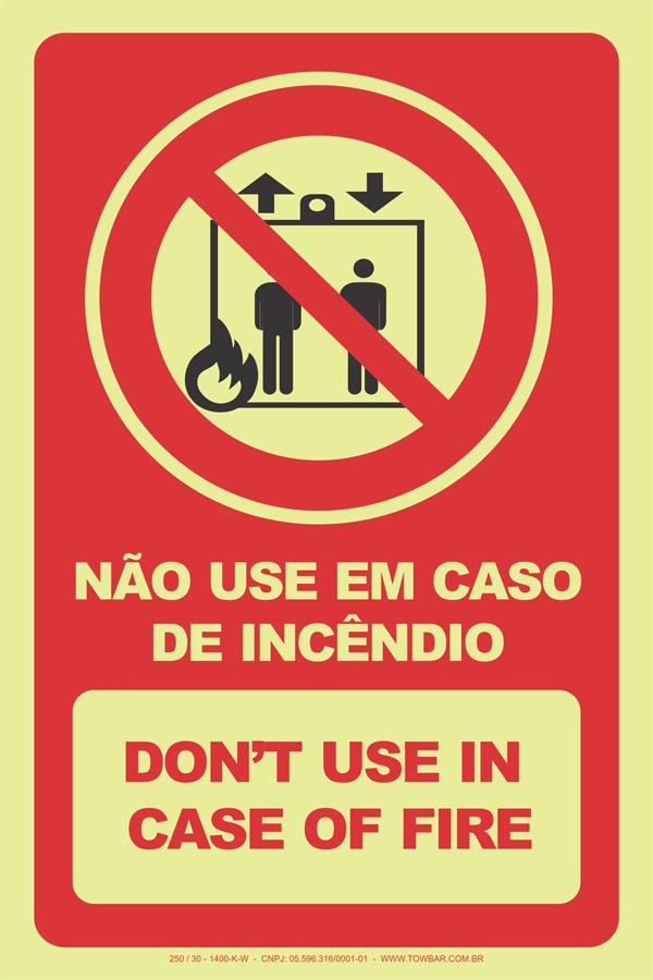 Não Use em Caso de Incêndio  - Towbar Sinalização de Segurança