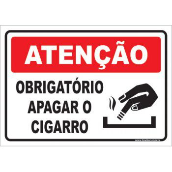 Obrigatório Apagar o Cigarro  - Towbar Sinalização de Segurança