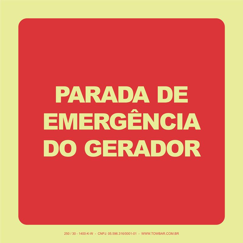 Parada de Emergência do Gerador   - Towbar Sinalização de Segurança