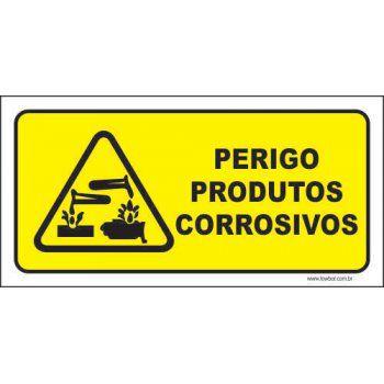 Perigo produtos corrosivos  - Towbar Sinalização de Segurança