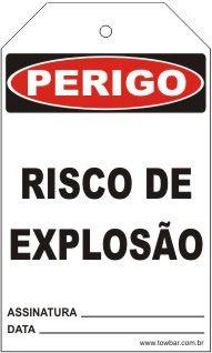 Perigo - Risco de explosão  - Towbar Sinalização de Segurança