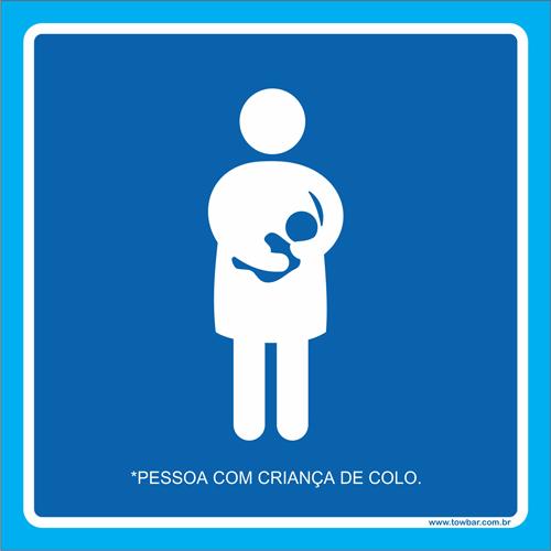 Placa pessoa com criança de colo  - Towbar Sinalização de Segurança