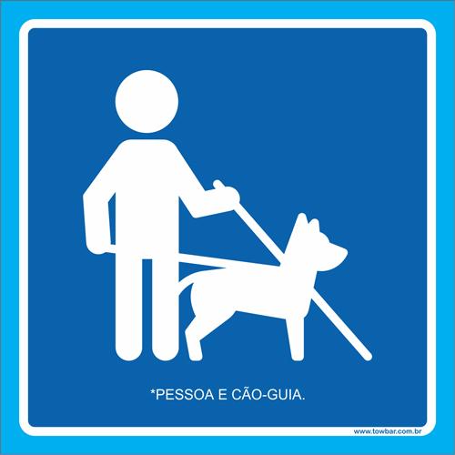 Placa pessoa e cão-guia  - Towbar Sinalização de Segurança