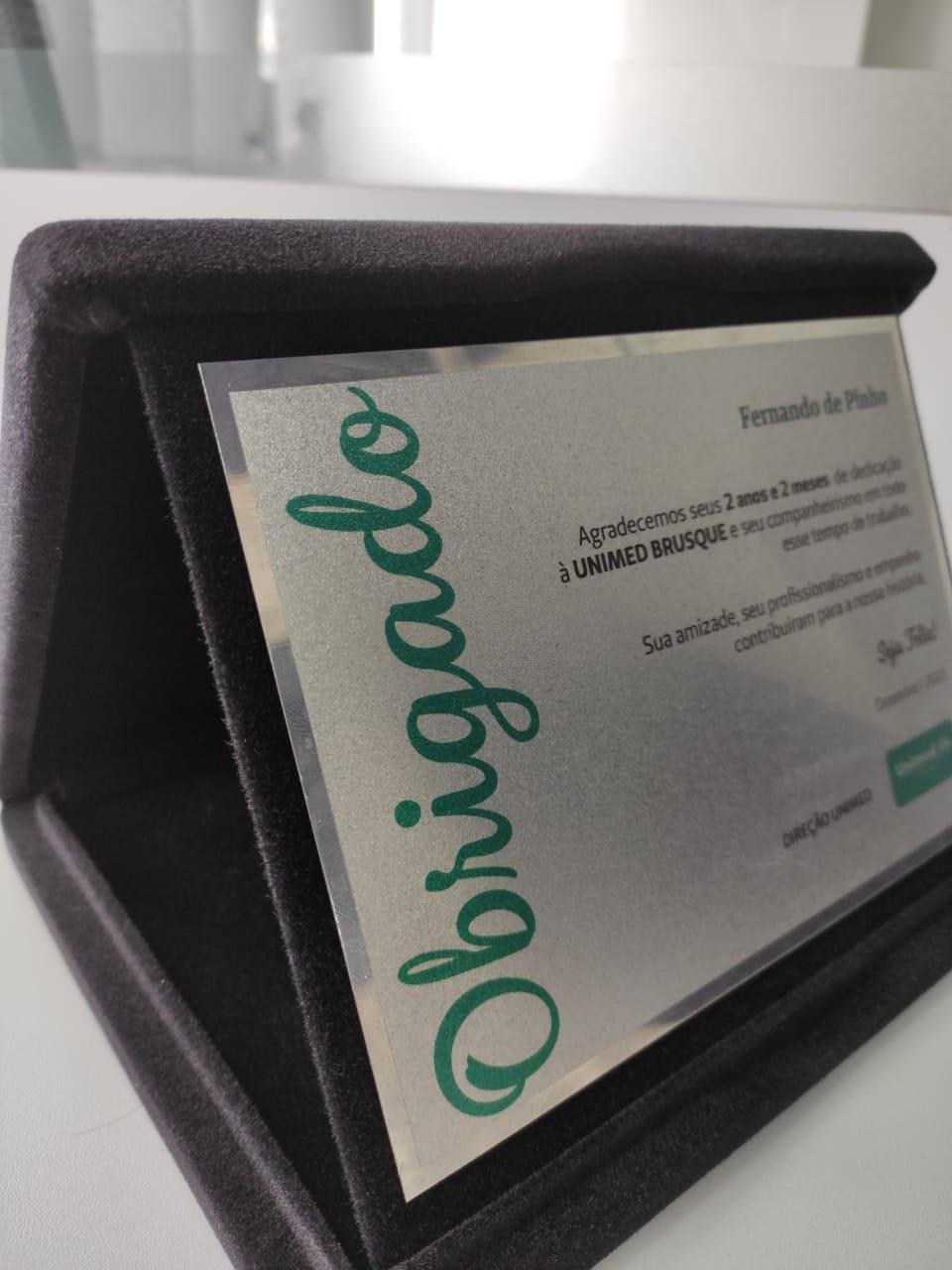 Placa de Homenagem em INOX - 16x12cm  - Towbar Sinalização de Segurança