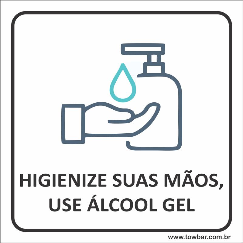 Placa Higienize as mãos com álcool gel (15x15cm)  - Towbar Sinalização de Segurança
