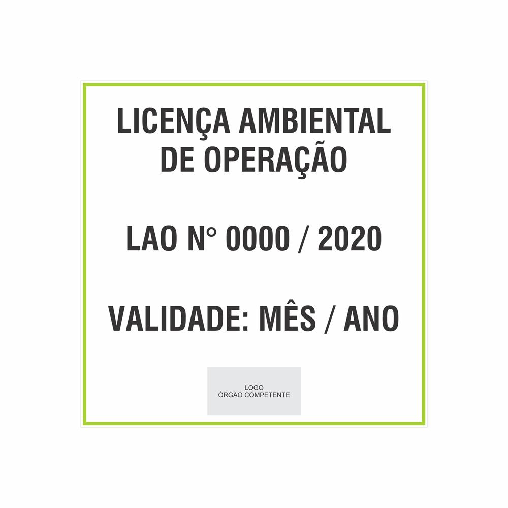 Placa Licença ambiental de operação  - Towbar Sinalização de Segurança