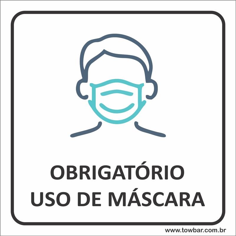 Placa Obrigatório Uso de Máscara (15x15cm)  - Towbar Sinalização de Segurança
