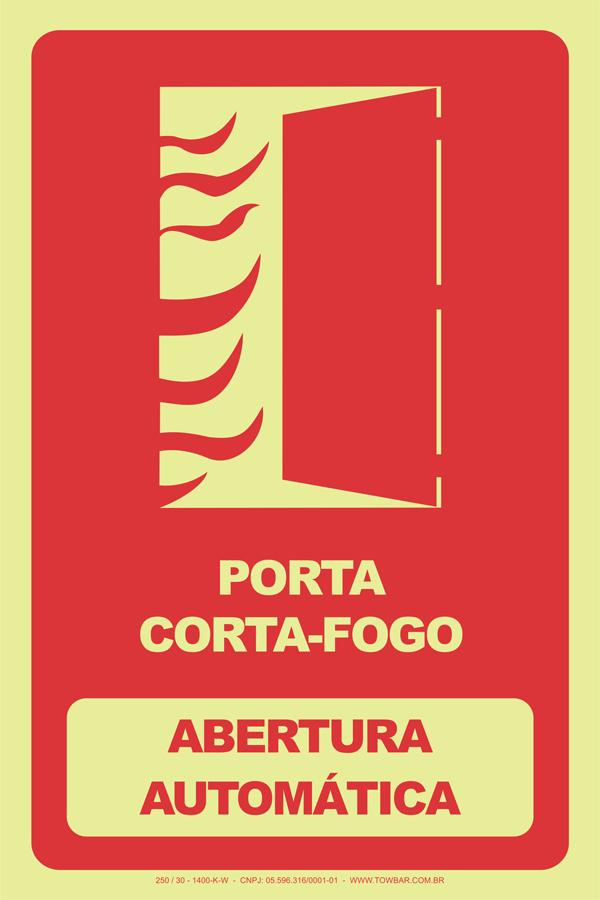 Porta Corta-Fogo - Abertura Automática  - Towbar Sinalização de Segurança