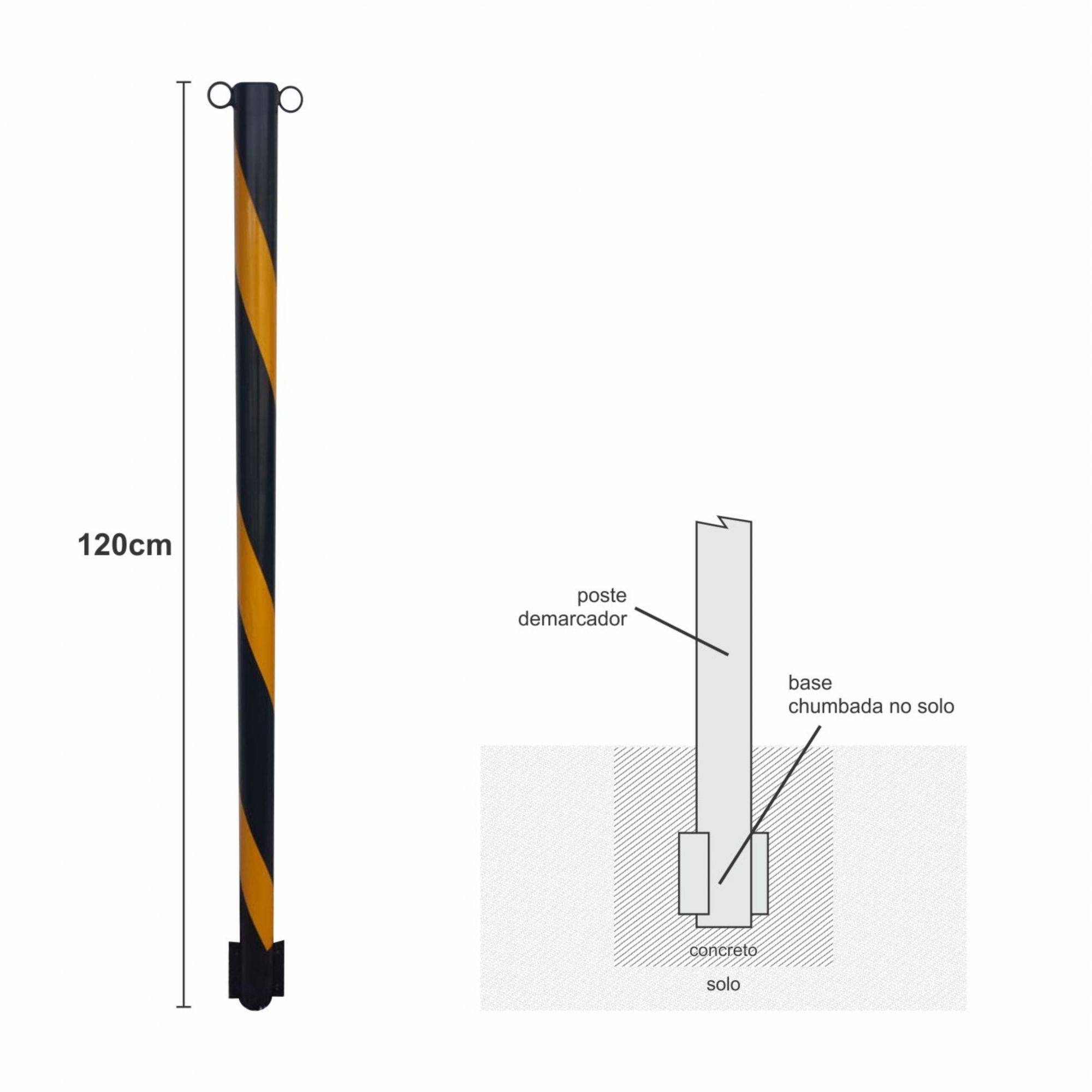 Poste demarcador de estacionamento fixo  - Towbar Sinalização de Segurança