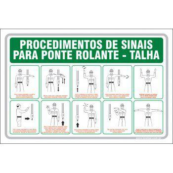 Procedimentos de sinais para ponte rolante  - Towbar Sinalização de Segurança