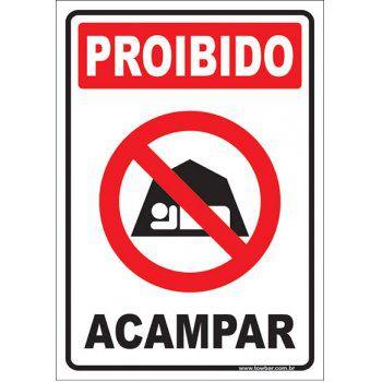 Proibido acampar  - Towbar Sinalização de Segurança