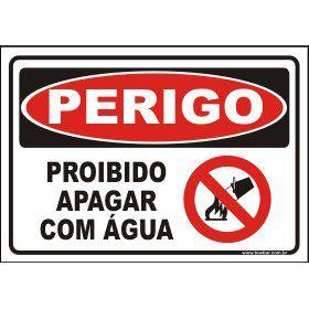 Proibido apagar com água  - Towbar Sinalização de Segurança