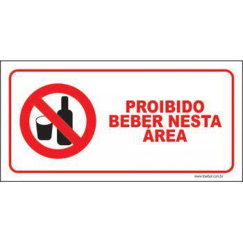 Proibido beber nesta área  - Towbar Sinalização de Segurança