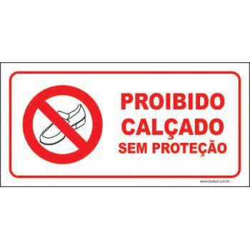 Proibido calçado sem proteção  - Towbar Sinalização de Segurança