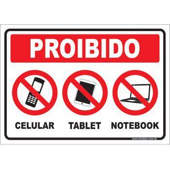 Proibido celular tablet notebook  - Towbar Sinalização de Segurança