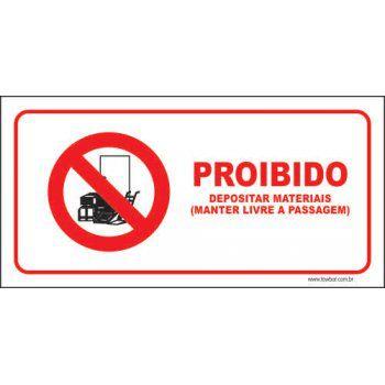 Proibido depositar materiais  - Towbar Sinalização de Segurança