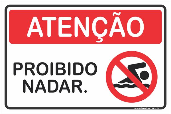 Proibido Nadar  - Towbar Sinalização de Segurança