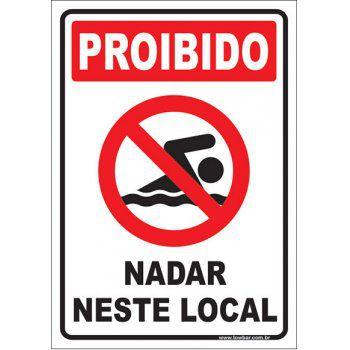 Proibido nadar neste local  - Towbar Sinalização de Segurança