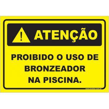 Proibido o Uso de Bronzeador Na Piscina  - Towbar Sinalização de Segurança
