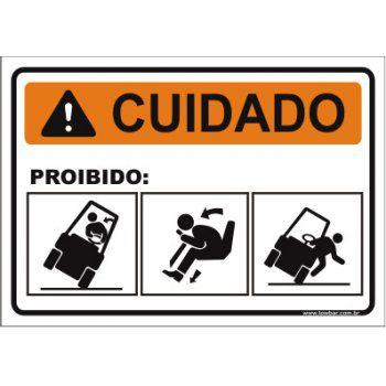 Proibido pular empilhadeira  - Towbar Sinalização de Segurança
