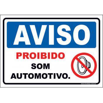 Proibido som automotivo  - Towbar Sinalização de Segurança