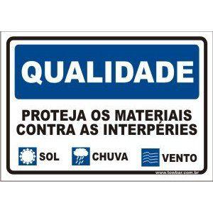 Proteja os materiais contra intempéries   - Towbar Sinalização de Segurança