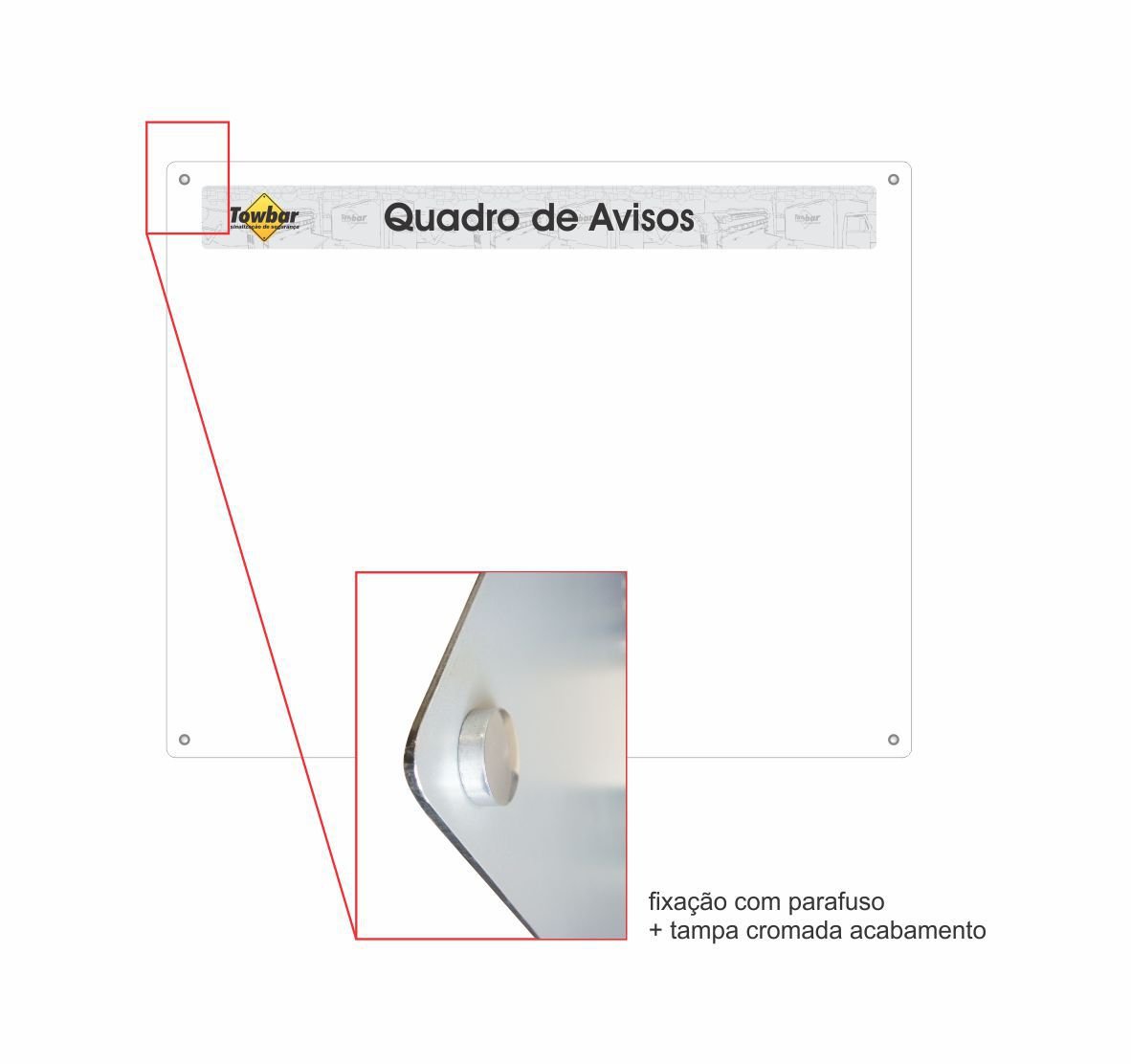 Quadro de informações com 9 porta folhas  - Towbar Sinalização de Segurança