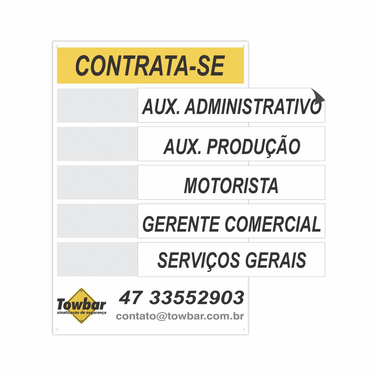 Placa contrata-se personalizada com logomarca  - Towbar Sinalização de Segurança