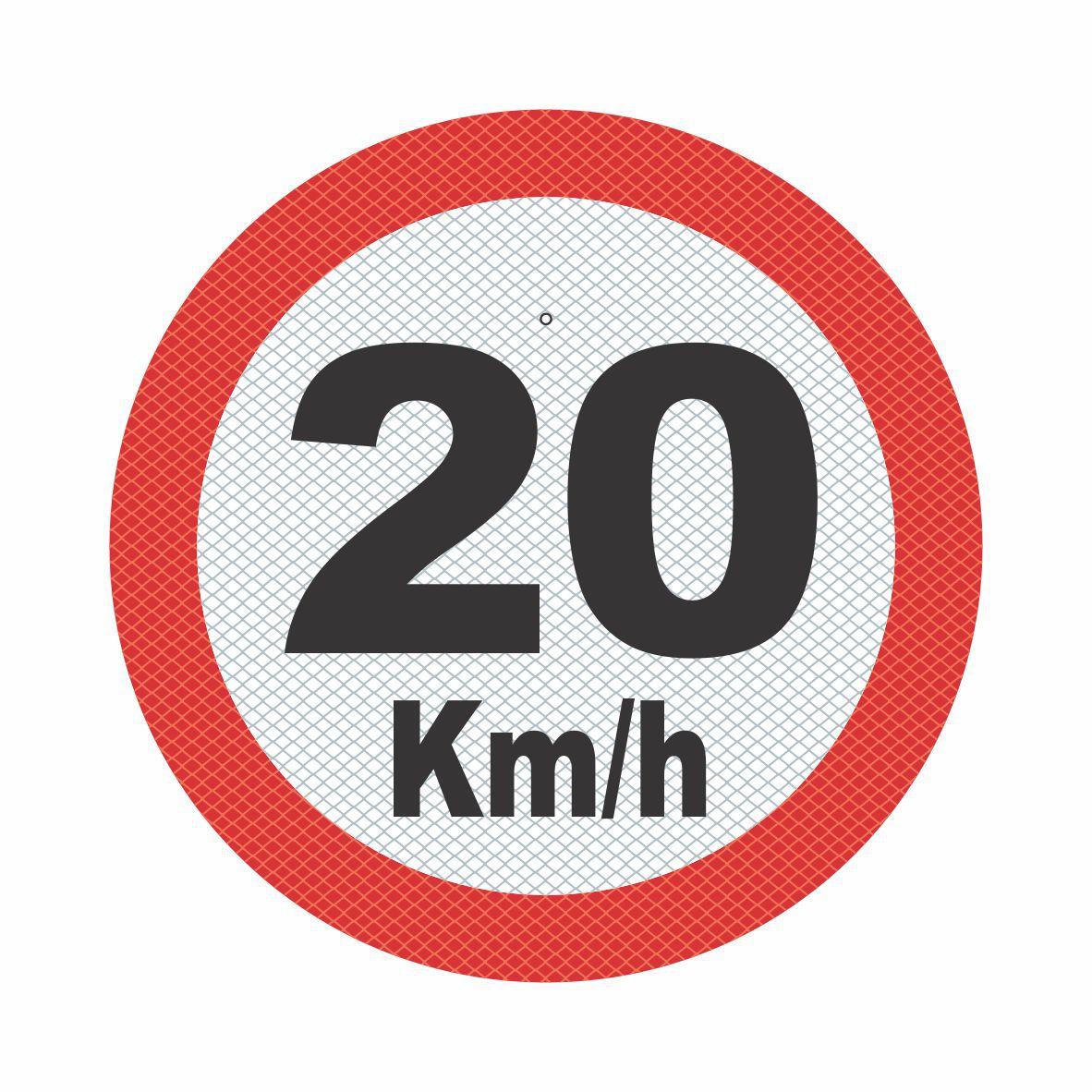R-19_2 - VELOCIDADE MÁXIMA PERMITIDA - 20 Kmh  - Towbar Sinalização de Segurança