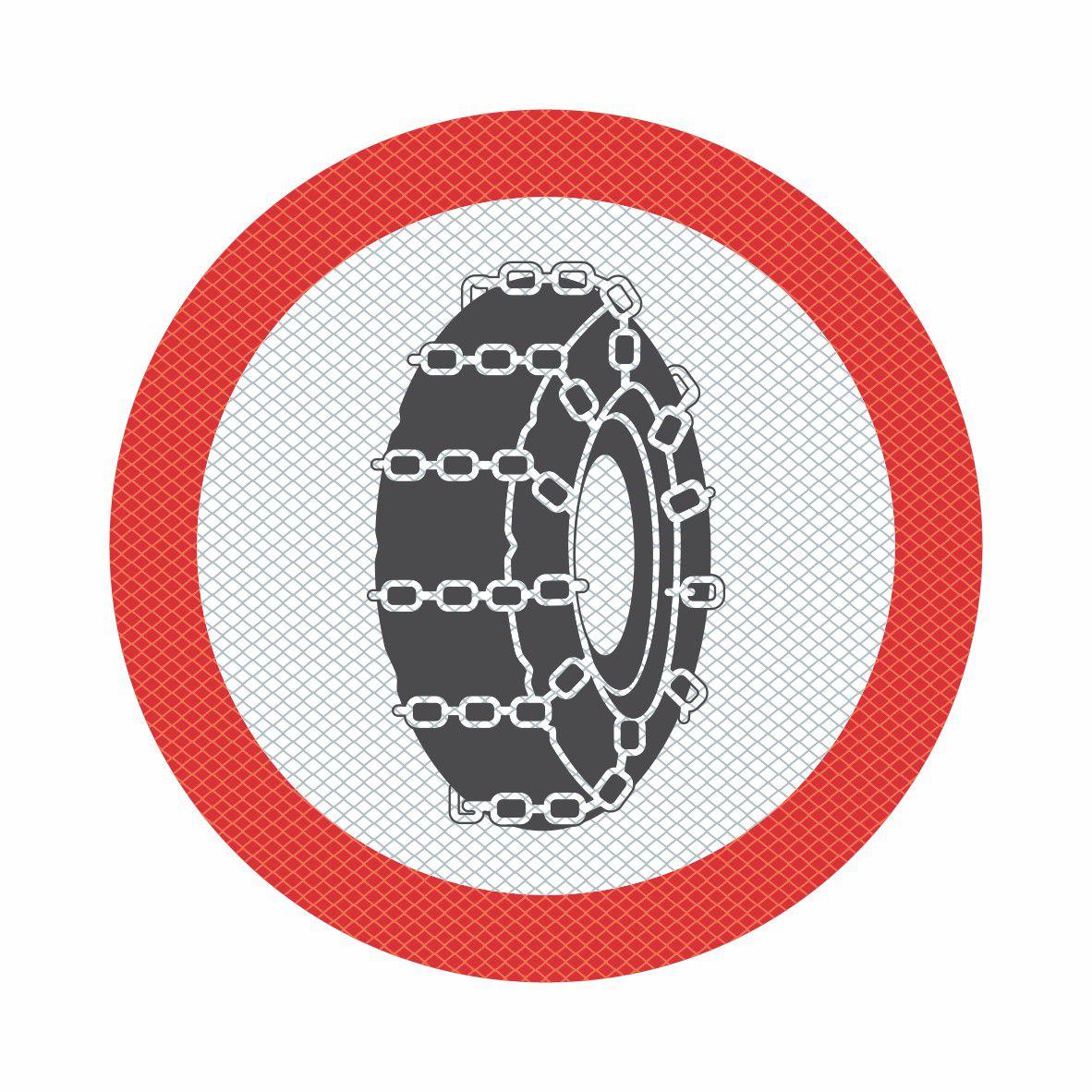 R-22 - USO OBRIGATÓRIO DE CORRENTE  - Towbar Sinalização de Segurança