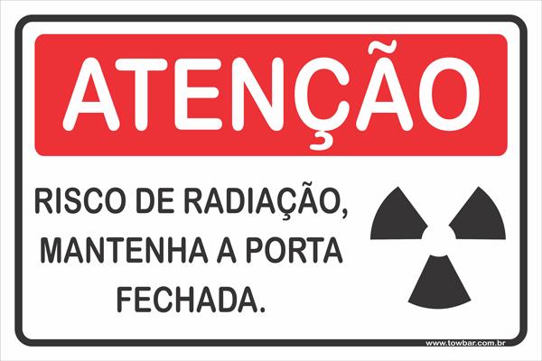 Risco de Radiação Manter a Porta Fechada Durante  - Towbar Sinalização de Segurança