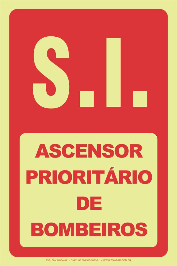 S.I. Ascensor Prioritário de Bombeiros  - Towbar Sinalização de Segurança