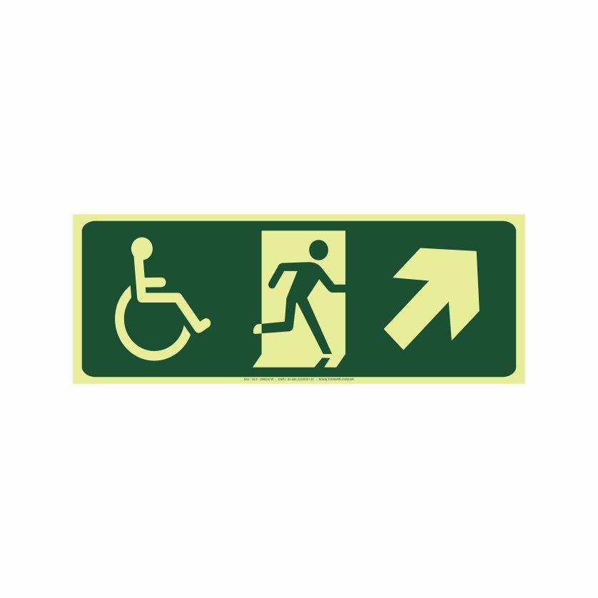 Saída a direita acessível acima  - Towbar Sinalização de Segurança